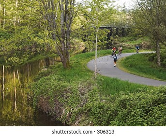 A nice spring evening along the biking/walking trail in Bothell, WA.