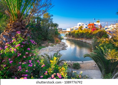 A nice spring view of the old harbor of traditional village Sisi, Crete, Greece