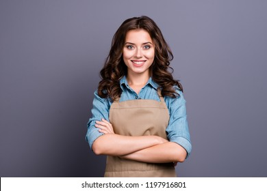 Nice stylish cheerful lovely sweet attractive brunette girl, barista with wavy hair in casual denim shirt and apron, crossed hands, isolated over grey background