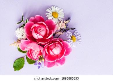 nice summer flowers, top view