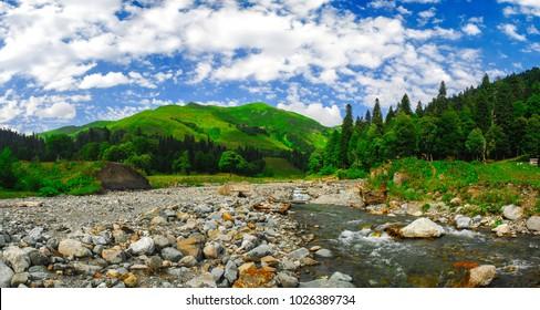 Nice summer panorama of Auadhara plato Abkhazia