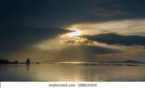 Nice sun ray over sea with nice seascape background
