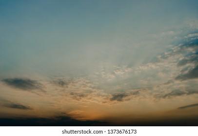 Nice sun shine at evening sky, Nature background