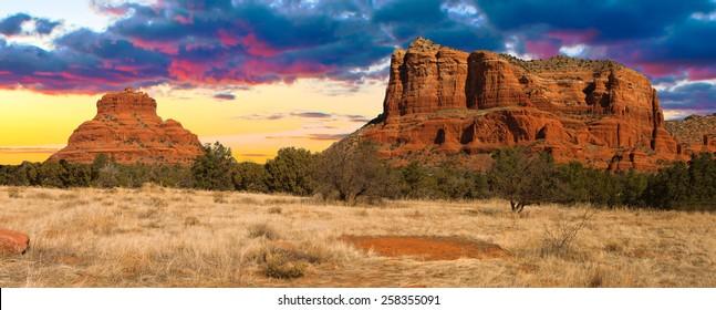 Nice Sunset Image of Cathedral Rock in Sedona; Arizona.