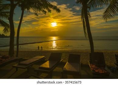 Nice sunset  on beach Pattaya