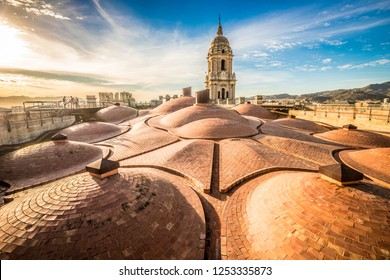 Nice sunset on the roof of Malaga cathedral Malaga Spain