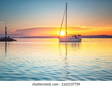 Nice sunset over lake Balaton