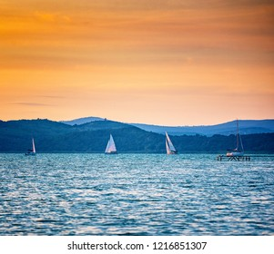Nice sunset over lake Balaton