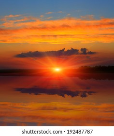 Nice sunset over lake surface