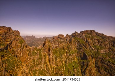 Nice sunset over mountains in Madeira - Portugal