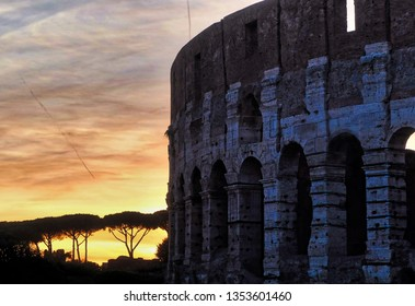 nice sunset in Roman Coloseum.