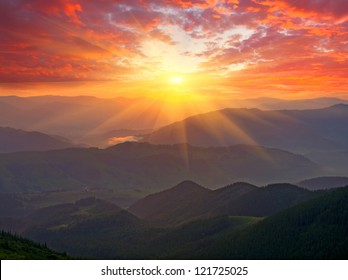 Nice sunset scene in mountains