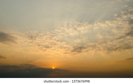 Nice sunset sky with clouds, Sky background