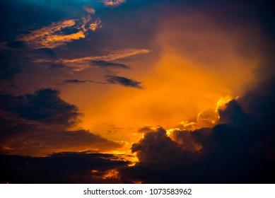 Nice sunset sky, Dramatic sky with clouds