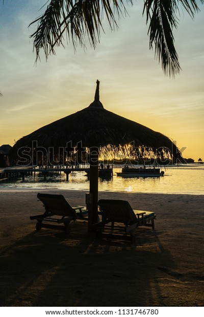Nice Sunset View Resort Maldives Middle Stock Photo Edit