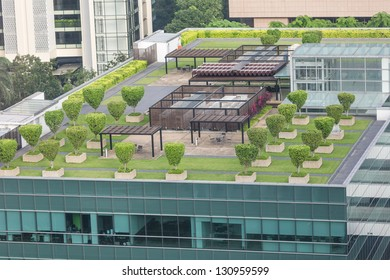 Nice symmetrical garden located on the roof of office building in Singapore
