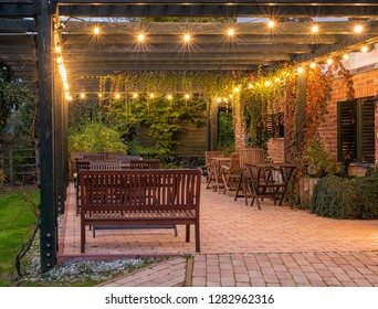 Nice terrace with lights in dusk