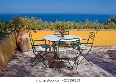 Nice terrace with the view on Ionian sea, Corfu, Greece