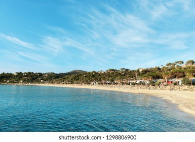 Nice view of the beach on a sunny day. France.