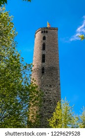 Nice view of the Hampesche Turm, a horseshoe-shaped or D-shaped wall tower of Hann. Münden, a town in Lower Saxony, Germany. The mural tower is a relict of the curtain walls in the medieval times.