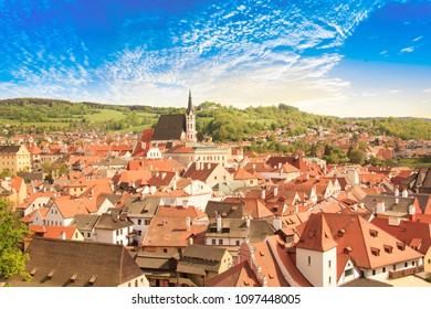 Nice view of the historic center of Cesky Krumlov, Czech Republic