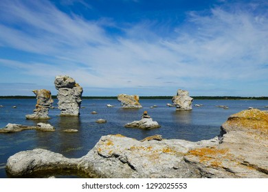 Nice view of ice age stone monoliths known as rauks at Langhammars nature reseve  (island of Faro, near Gotland in Sweden). It was the setting for Ingmar Bergman's film Shame.