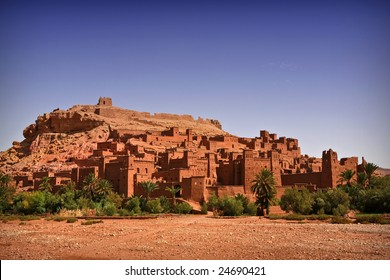 Nice view of the Kasbah of Ait Benhaddou, Morocco. Background