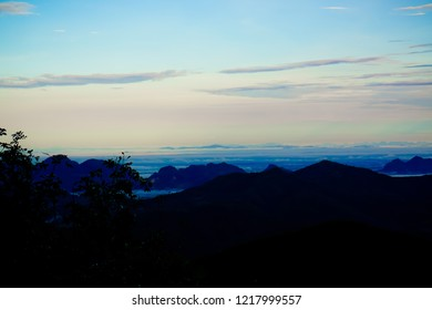 nice view of moutain range and sea gog,mist  at  early morning time relax outdoor nature wallpaper background