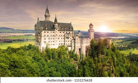 Nice view of Neuschwanstein castle in Bavaria, Germany, Europe