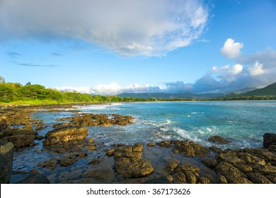 Nice view of the ocean, mountains and clouds. Mauritius Island, Indian Ocean