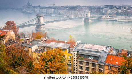 Nice view on Chain Bridge in autumn