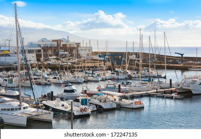 Nice view on the marine with many yachts. Cold, fresh and clear colors. Early morning. City Ponta Delgada, Sao Miguel Island, Azores islands.