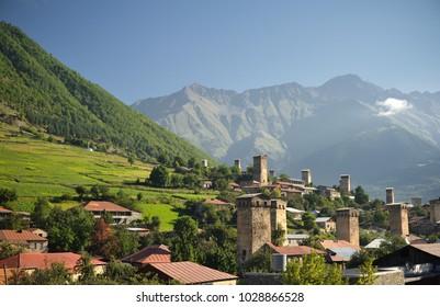 Nice view on Mestia - capital of Svaneti region / Georgia