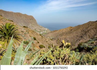 Nice view overlooking a valley to the ocean in the north of la Gomera