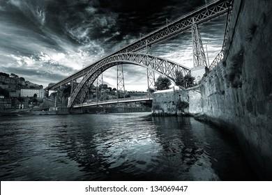 Nice view of Porto and Dom Luis I bridge. Portugal