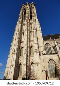 Nice view of the Saint Rumbold's Cathedral in Mechelen in a sunny day and with a clean sky - Flemish Region, Belgium -