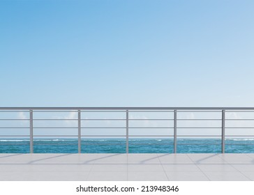 A nice view of the sea from a hotel terrace