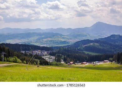 Nice view of the ski resort in summer in the Slovak Tatras.