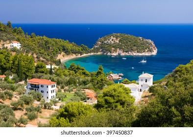 Nice view of Stafilos bay holiday resort, Skopelos island (Greece)