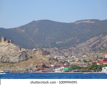 Nice view of the Sudak. Summer in the Crimea. View from the Black Sea to the shore