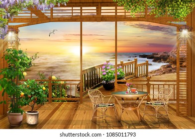 Nice view from the terrace. Evening sunset on the sea. Digital fresco