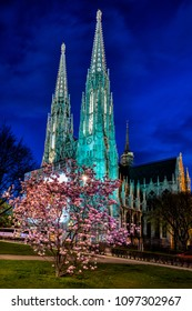 Nice view of votivkirche in Vienna and trees in flower.