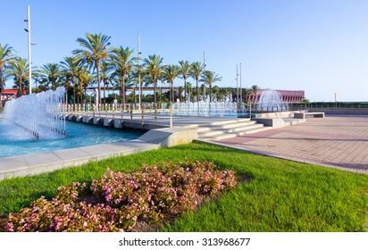 nice walking areas of Nicolas Salmeron Park Almeria, Spain