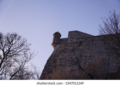 "Nice watchtower or ""echauguette"" of the citadelle of Vauban in Besançon, Doubs at sunset"