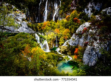 nice waterfall in national forest park in Croatia, Plitvice park Karlovac county