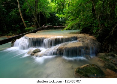 the nice waterfall in thailand/erawan national park in thailand