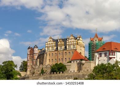 Nice weather with a blue sky above the castle of Bernburg, Saxony-Anhalt
