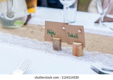 Nice wedding decorations. Wooden and floral decorations on wedding