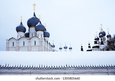 Nice white ancient Russian Cathedral at winter. Rostov, Russia