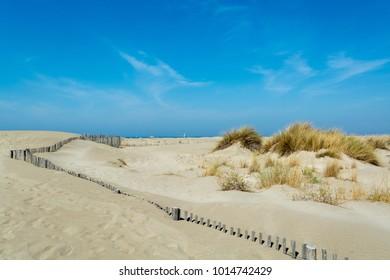 Nice white sand beach at Le Grau du Roi,  France's Languedoc coast, is known as Plage de l'Espiguette near Port Camargue